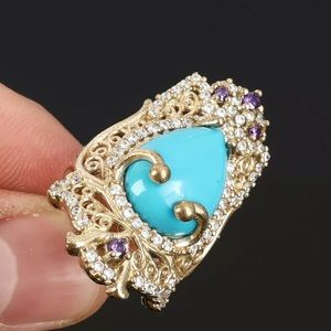 Sultan Ottoman Luxury Turquoise Silver Ring